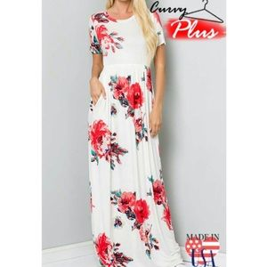 Beautiful Ivory and red floral maxi dress 1X 2X 3X